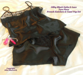 Silky Black Satin & Lace Two Piece French Knickers & Cami Top Set