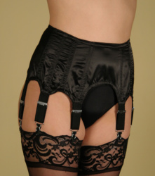 Sexy Black Satin Deep Boned Suspender Belt with Six Metal Ended Straps