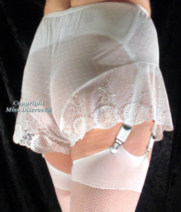 Sexy Sheer White or Black French Knickers with Lace Trim