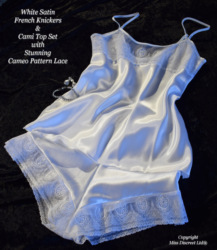 White Satin French Knickers & Camisole Set with Cameo Lace Design