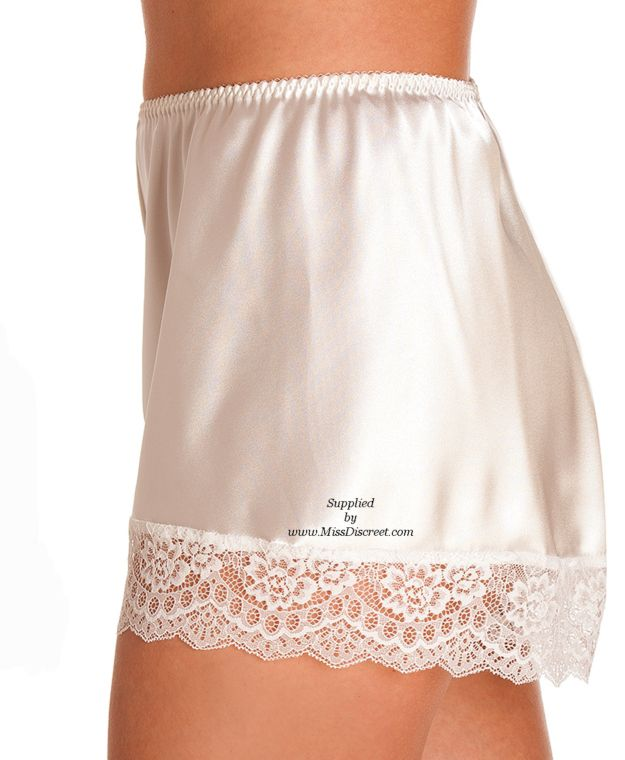Ivory Cream Satin & Lace French Cami Knickers with Deep Lace Trim - UK 10 to UK 28 Sizes
