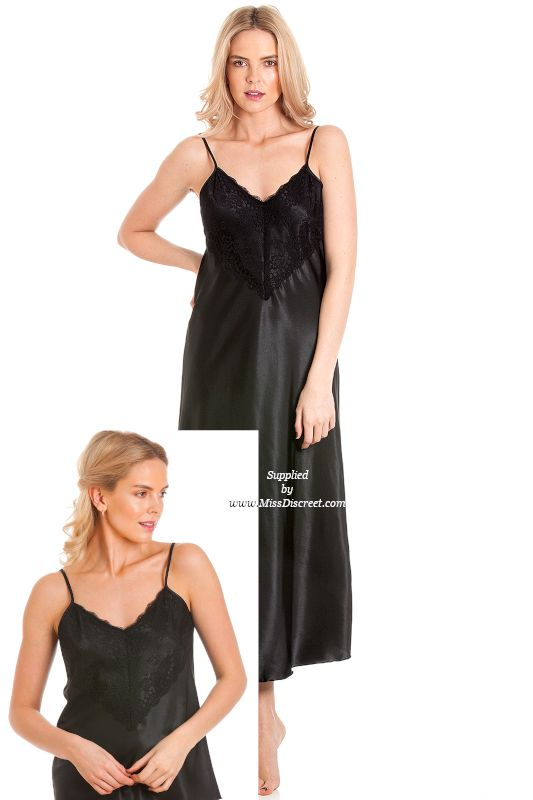 Jet Black Long Length Satin Chemise - Nightie - Nightgown with V Lace Neckline - Sizes UK 10 to 28