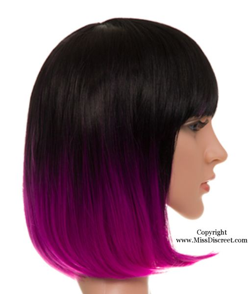 Ladies  Full Head Bob Style Wig in Natural Black with Purple Dip Dye Tips