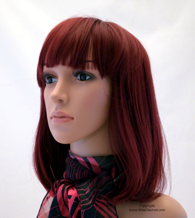 Long Length Bob Full Head Wig in Burgundy Red