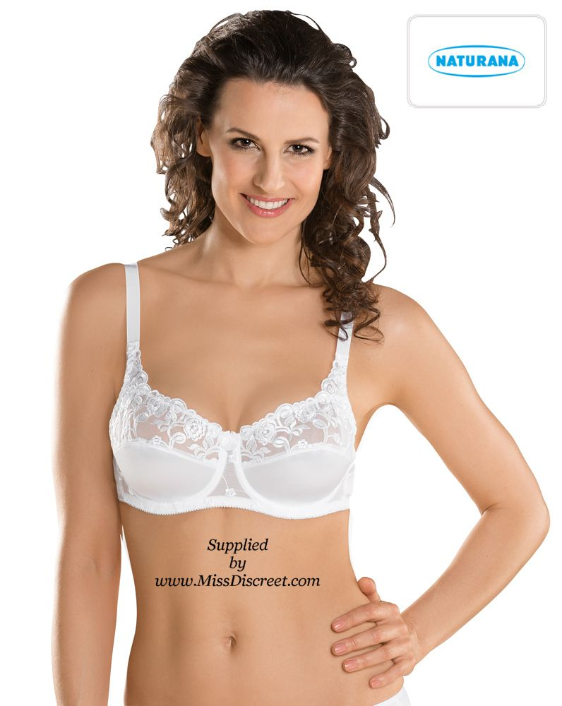 Naturana - Valessa Satin Look Bra with Semi Sheer Lace in Black White or Cream