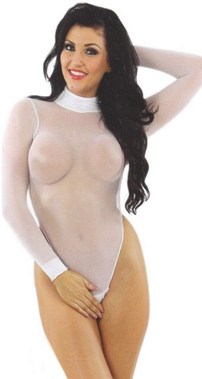 Sheer Body Stocking - Teddy With Sleeves - Black Red or White
