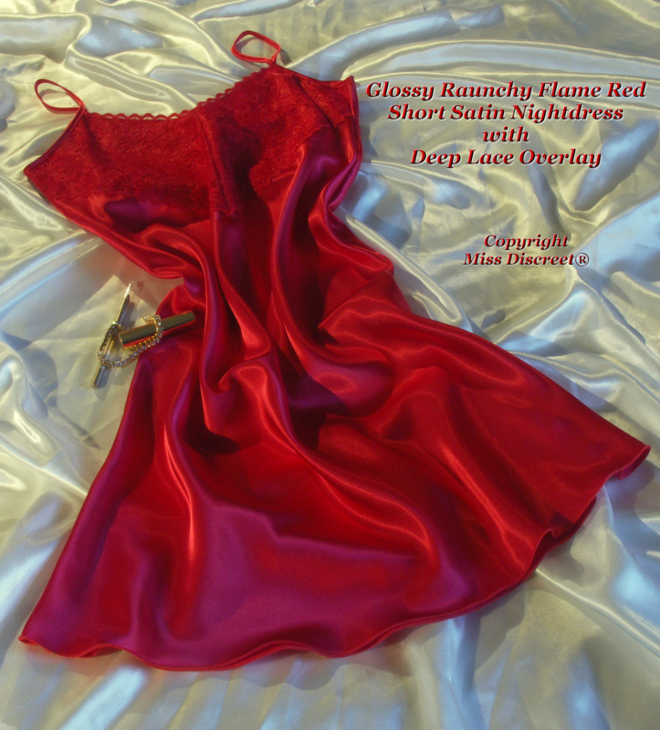 Short Glossy Flame Red Satin & Lace Nightdress Nightie Chemise Slip Sizes UK 10 to 28