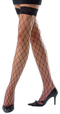 Whale Net Hold Up Stockings with Fancy Lace Tops - Black or Red - One Size