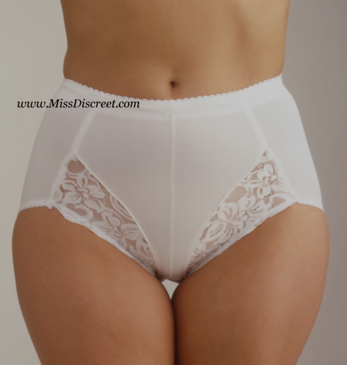 White or Black Control  Knickers with Lycra and Lace Trim - All sizes